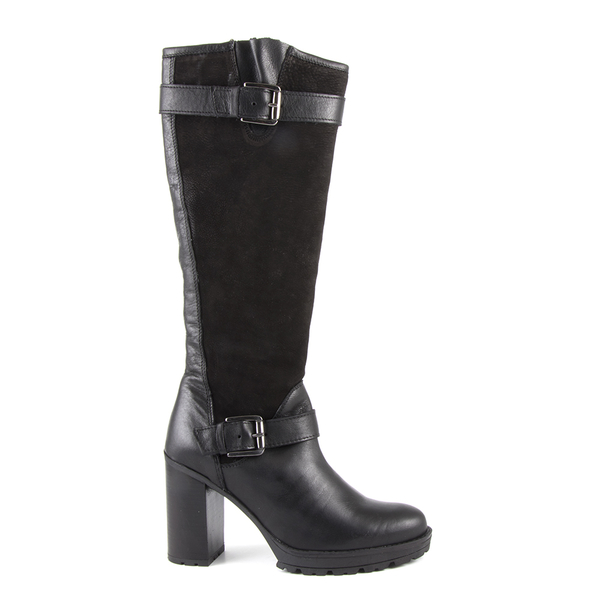 Women's boots Benvenuti black leather with high heel 518dc3423936n