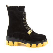 Ghete Enzo Bertini Enzo Bertini women's combat boots in black suede with yellow sole 3780DG355008VN