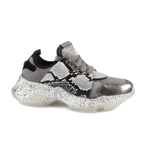 Pantofi Steve Madden Steve Madden Women's Sneakers in silver & grey leather and textile 1460DPMESCALGR