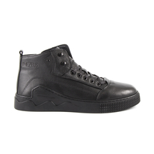 Ghete Thezeus TheZeus men's sporty boots in black leather with deco sole 2100BG66704N